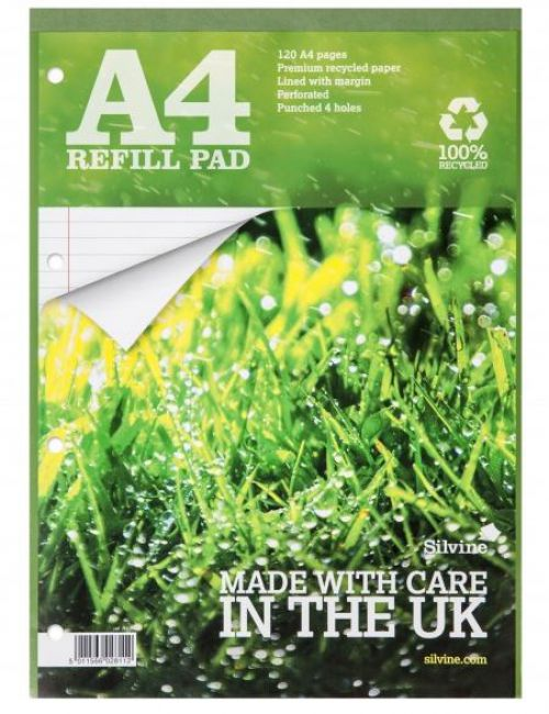 Silvine Premium Recycled A4 Refill Pad Feint Ruled PK5