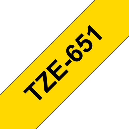 Brother P-Touch 24mm Black on Yellow TZE651 Labelling Tape TZE651