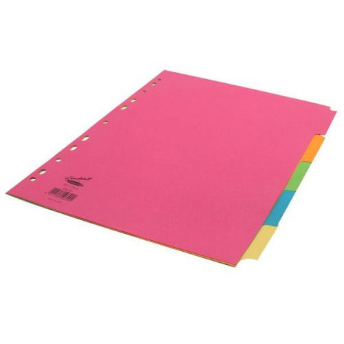 Concord Divider 5 Part A4 160gsm Board Bright Assorted Colours 50699