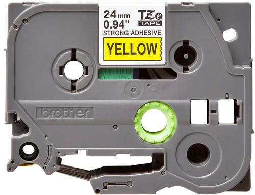 Brother P-Touch Tape 24mm Black on Yellow (Fade resistant and wipe- clean) TZES651