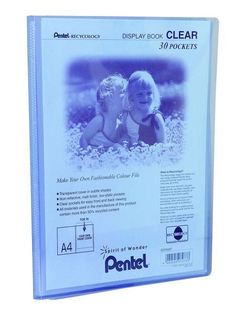 Pentel Recycology A4 Display Book Clear 30 Pocket Blue (Pack 10)