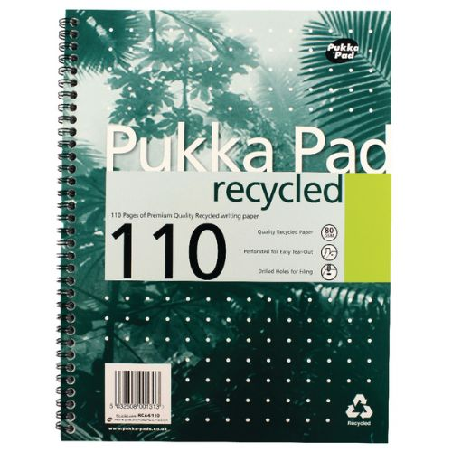 Pukka Pad A4 Wirebound Card Cover Notebook Recycled Ruled 110 Pages Green (Pack 3)
