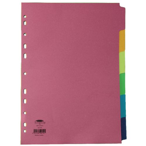 Concord Bright Subject Divider A4 6-Part Assorted