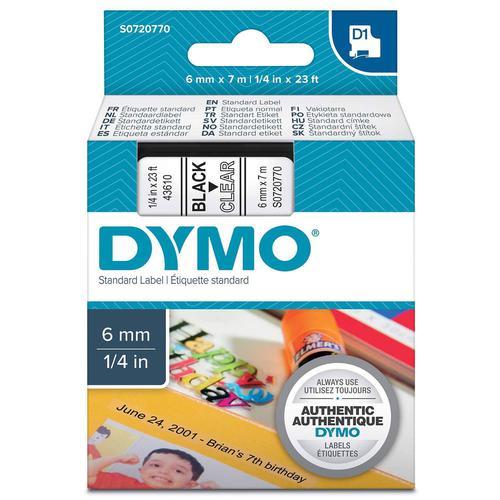 Dymo D1 Tape Cartridge 6mm x 7m Black on Clear S0720770