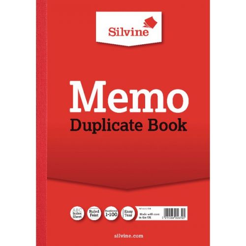 Silvine A4 Duplicate Memo Book Carbon Ruled 1-100 Taped Cloth Binding 100 Sets (Pack 6)