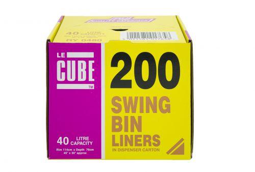 Le Cube Medium Duty Swing Bin Liner 40 Litres 12 Micron White [Pack 200]