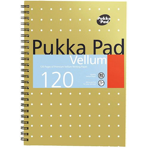 Pukka Pad Vellum A5 Wirebound Card Cover Ruled 120 Pages Yellow (Pack 3)