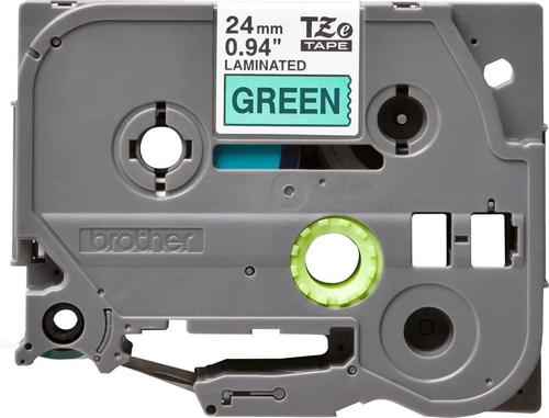 Brother P-Touch Tape 24mm Black on Green TZE751