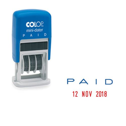 Colop S160/L2 Mini Text Dater PAID stamp