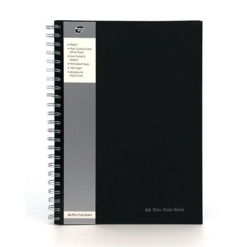 Pukka Pad A4 Wirebound Hard Cover Notebook Ruled 160 Pages Black (Pack 5)