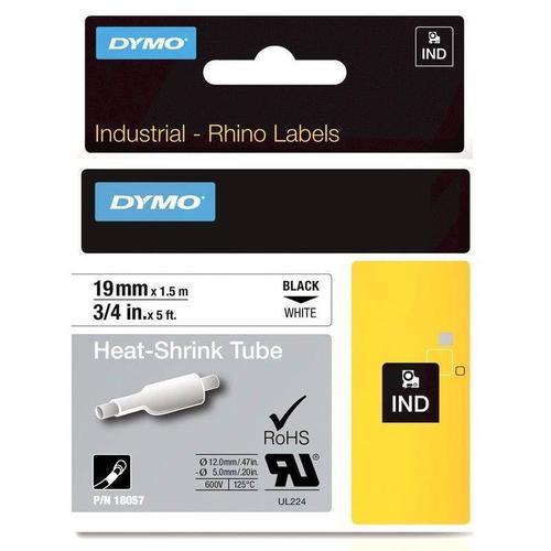 Dymo Rhino Industrial Heat Shrink Tube 19mm x 1.5m Black on White 18057