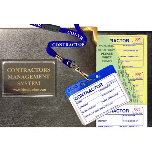 Identibadge Contractor Visitor Book with 100 numbered tear out passes Complete with Binder 10 Badges and 10 Contractor lanyards