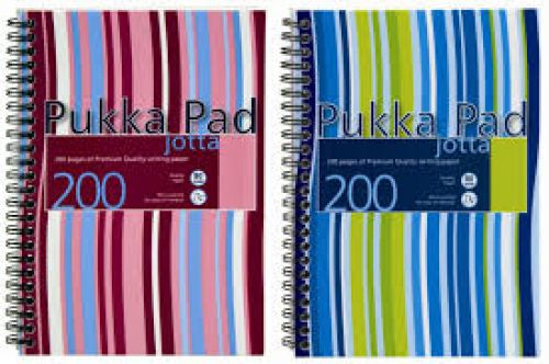 Pukka Pad Jotta A5 Wirebound Polypropylene Cover Notebook Ruled 200 Pages Assorted Stripe Colours (Pack 3)
