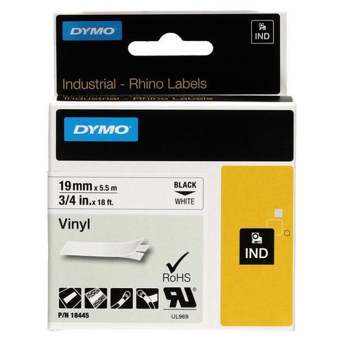 Dymo Rhino Industrial Vinyl Tape 19mm x 5.5m Black on White 18445