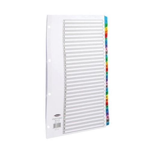 Concord Classic Index 1-31 A4 180gsm Board White with Coloured Mylar Tabs 03201/CS32