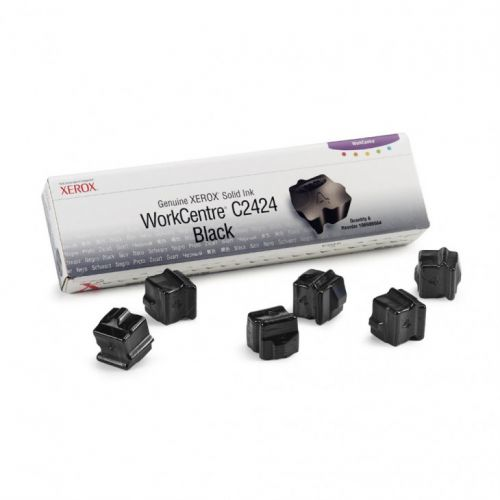 Xerox ColorStix Black (Yield 6,800 Pages) Solid Ink Sticks Pack of 6 for Xerox WorkCentre C2424 Series