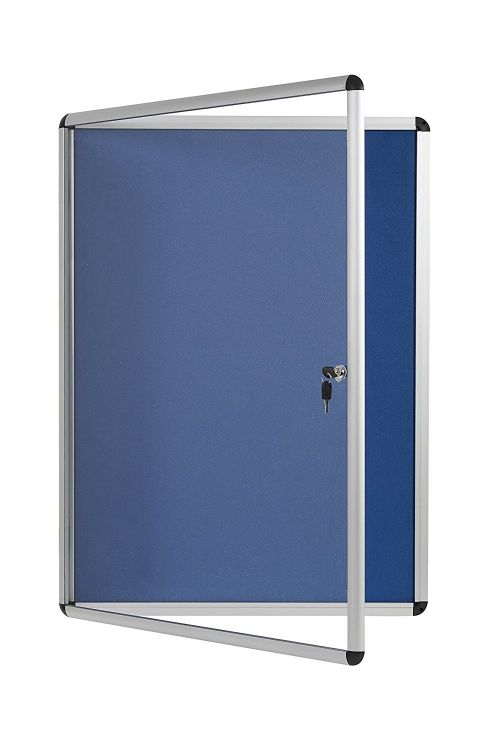 Bi-Office Enclore Blue Felt Lockable Noticeboard 9xA4