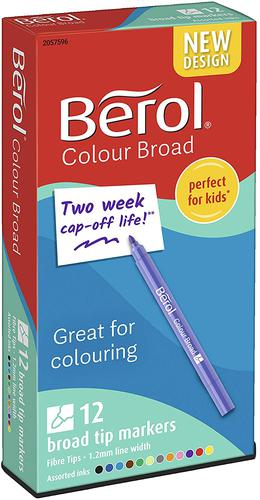 Berol Color Broad Fibre Tip Colouring Pen 1.2mm Line Assorted Colours (Pack 12)