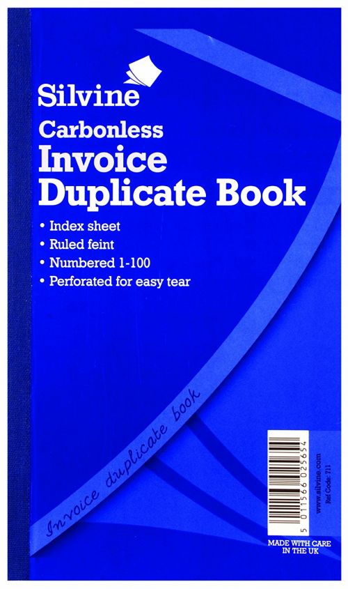 Silvine Carbonless Duplicate Invoice Book Ruled (Pack 6)