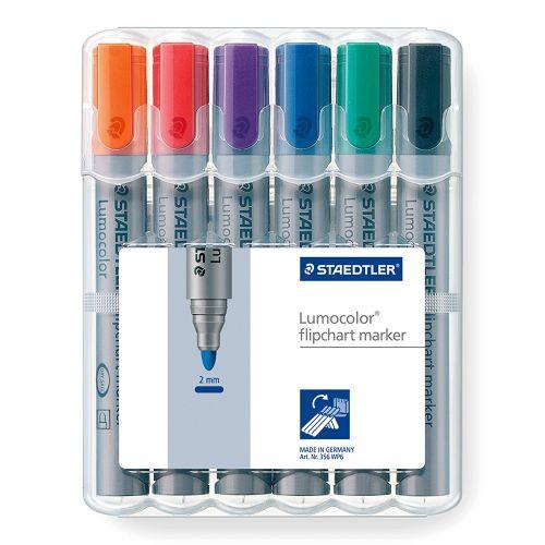 Staedtler Lumocolor Flipchart Marker Bullet Tip Assorted (Pack 6)