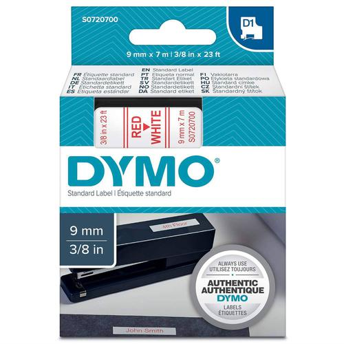 Dymo D1 Tape Cartridge 9mm x 7m Red on White S0720700
