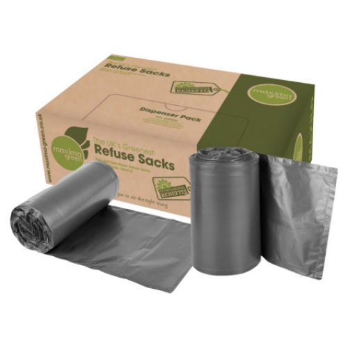 The Green Sack Heavy Duty 100% Recycled Black Bin Liners GR0008 [Box 200]