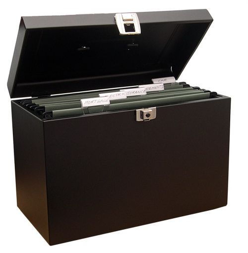 Value Cathedral Metal File Box Foolscap Black