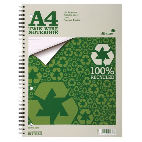 Silvine A4 Recycled Twinwire Notebook 70gsm (Pack 12)