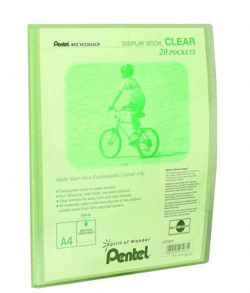 Pentel Recycology A4 Display Book Clear 20 Pocket Green (Pack 20)
