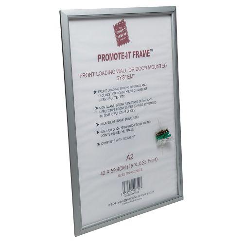 Photo Album Co Poster/Photo Snap Frame A2 Aluminium Frame Plastic Front Silver
