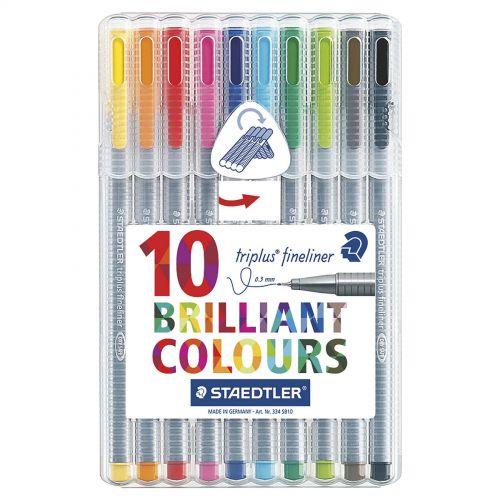 Staedtler Triplus Fineliner Desktop Bx Assorted Colours PK10