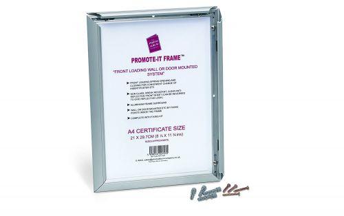 Photo Album Co Certificate/Photo Snap Frame A4 Aluminium Frame Plastic Front Silver