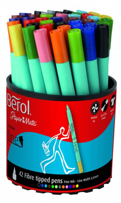 Berol Colourfine Assorted Pack of 42 3P