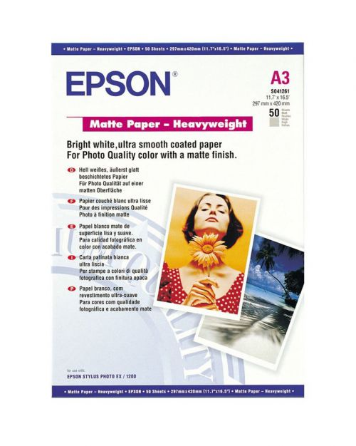 Epson C13S041261 Matte Heavyweight Paper A3 50 Sheets