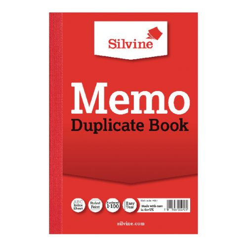 Silvine 152x102mm Duplicate Memo Book Carbon Ruled 1-100 Taped Cloth Binding 100 Sets (Pack 12)