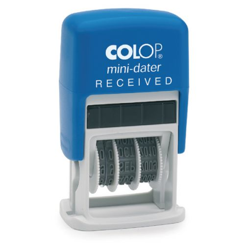 Colop S160/L1 Mini Word and Date Stamp RECEIVED 25x12mm Blue/Red Ink
