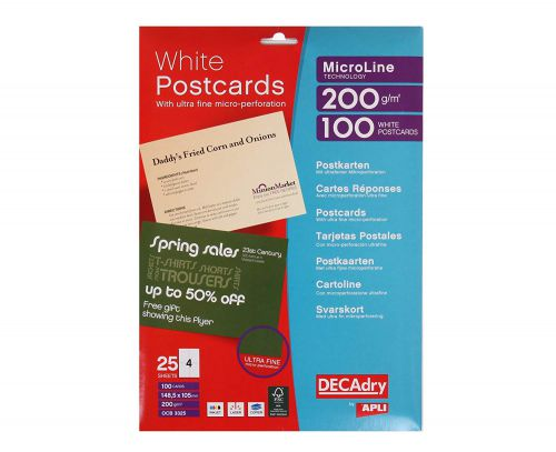 DECadry 200gsm Micro-Perforated Postcards Pack 100