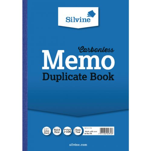 Silvine A4 Duplicate Book Carbonless Ruled 1-100 Taped Cloth Binding 100 Sets (Pack 3)