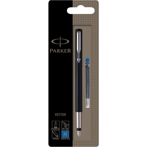 Parker Vector Stainless Steel Trim Fountain Pen Med Nib BK