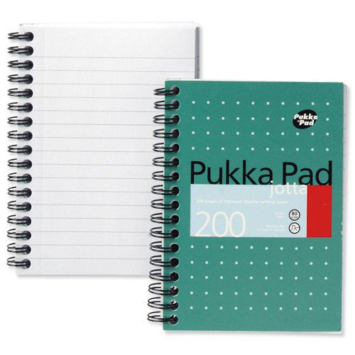 Pukka Pad Jotta A6 Wirebound Card Cover Notebook Ruled 200 Pages Metallic Green (Pack 3)