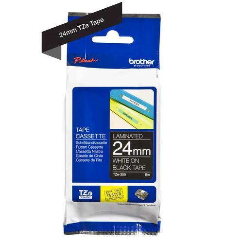 24MM Gloss White on Bk Labelling Tape
