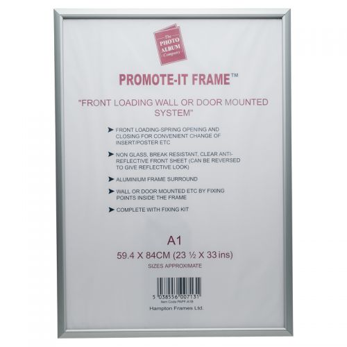 Photo Album Co Poster/Photo Snap Frame A1 Aluminium Frame Plastic Front Silver PAPFA1B