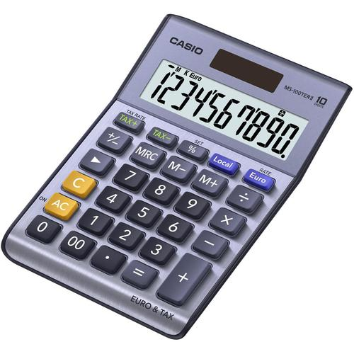 Casio MS100TER Desktop Calculator Battery/Solar Power 10 Digit Tax Key