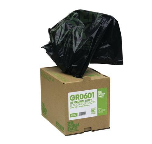 The Green Sack Medium Duty Refuse Sack Cube 737x965mm Black (Pack 75) 0703116