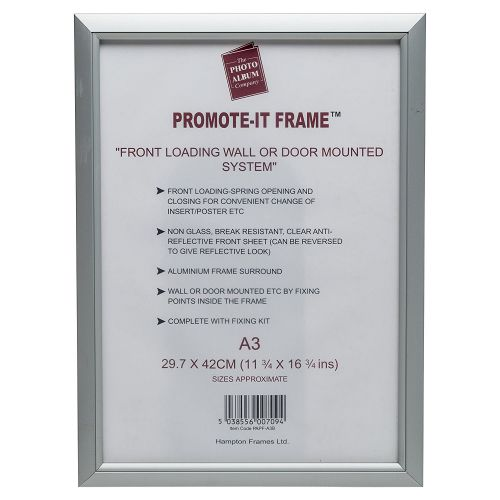 Photo Album Co Poster/Photo Snap Frame A3 Aluminium Frame Plastic Front Silver