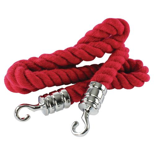 Securit Rope 25mm x 150cm Red with Chrome Hooks