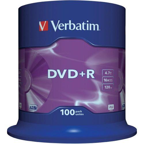 Verbatim DVD+R 16x Speed Spindle 4.7GB (Pack of 100) 43551