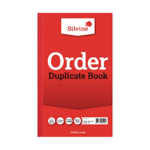 Silvine 210x127mm Duplicate Order Book Carbon Ruled 1-100 Taped Cloth Binding 100 Sets (Pack 6)