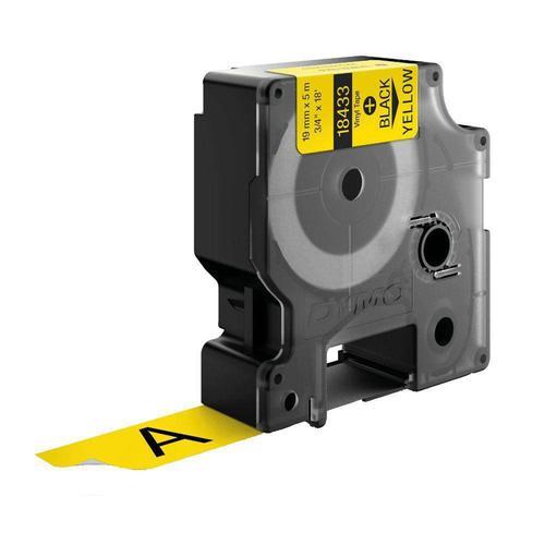 Dymo 18433 Rhino Vinyl Tape 19mm x 5.5m Black on Yellow S0718470 Label Tapes ES18433