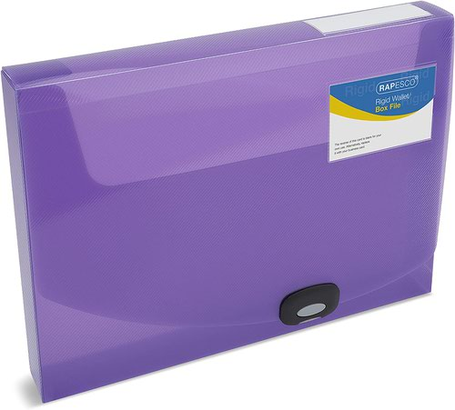 Rapesco 40mm Rigid Wallet Box File A4 Assorted Colours Pack 5